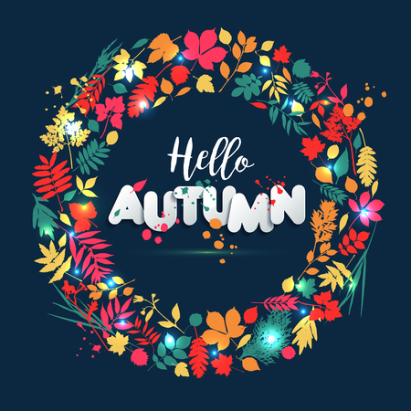 Text autumn in paper style on multicolor background with autumn leaves.