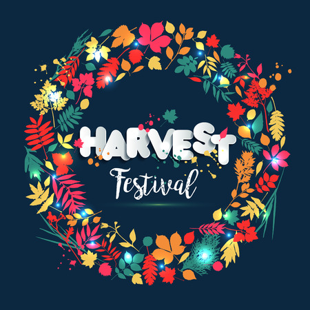 Text harvest festival in paper style on multi color background with autumn leaves. Hand drawn grunge blots elements.