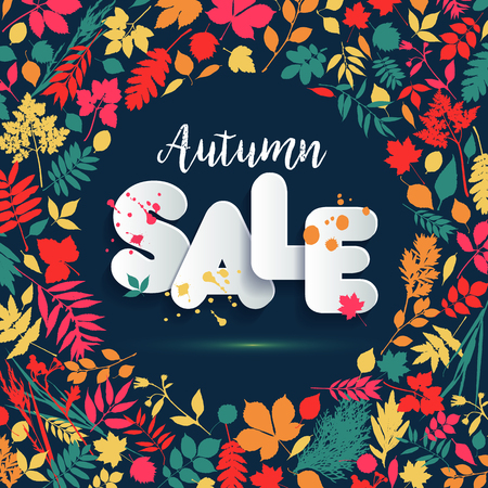 Text Sale in paper style on multicolor background with autumn leaves. Hand drawn grunge blots elements. Fall style for autumn sale.