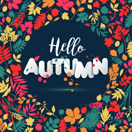 Text autumn in paper style on multicolor background with autumn leaves. Hand drawn grunge blots elements. Fall style for autumn sale.