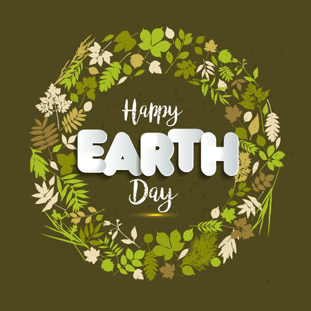 Happy Earth day card celebration with leaves in april with text paper style Banco de Imagens - 95897953