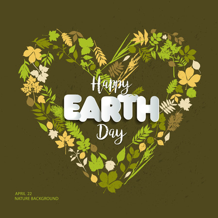 Happy Earth day card celebration in april with text paper style