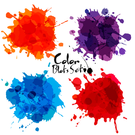 Abstract set of color blots. Vector background. Illustration