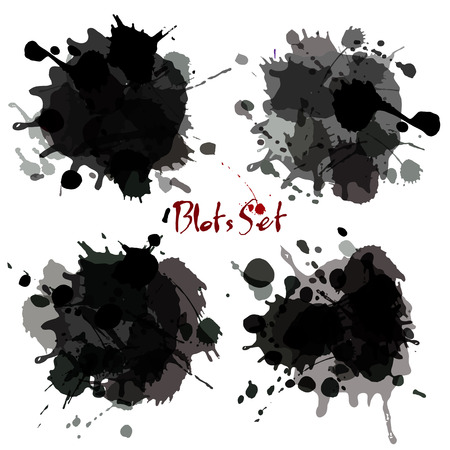 Abstract set blots. Vector black grunge background