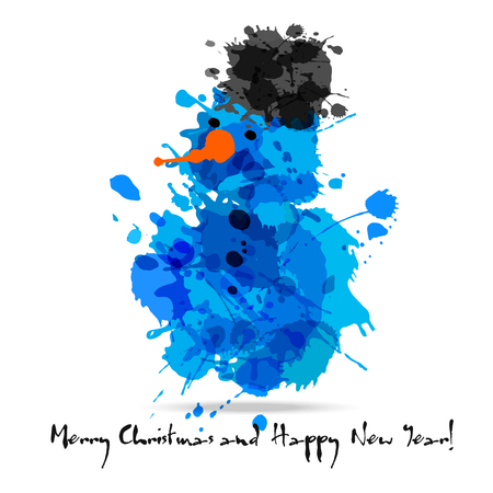 Merry christmas abstract card of blots snowman. Illustration