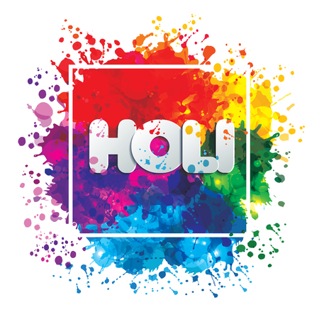 Holi spring festival of colors vector design element and sign ho
