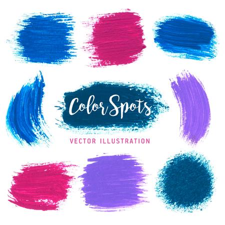 Textures of paint color spots. Vector illustration.