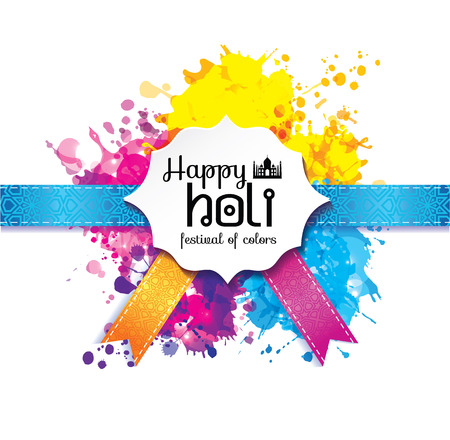 Happy holi blur abstract banner with hand drawn sign color and medal. 向量圖像