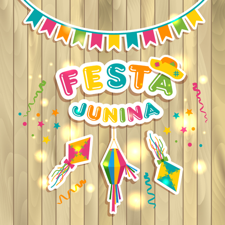 Festa Junina logotype with flags on texture