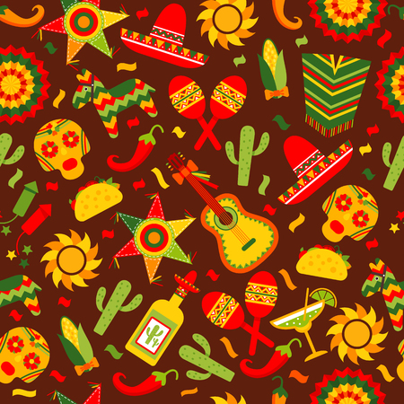 Cinco de Mayo celebration in Mexico, seamless pattern ond brown with, food, sambrero, tequila, cactus.Vector illustration.