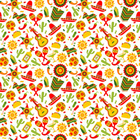 Cinco de Mayo celebration in Mexico, seamless pattern ond white, food, sambrero, tequila, cactus.Vector illustration. Illustration