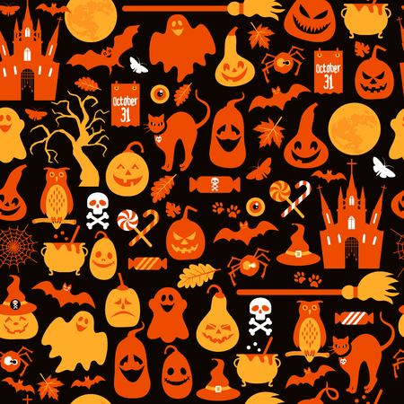 A Seamless pattern of Halloween with pumpkins and icons.