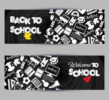 Back to school banner set on black board Vector illustration.
