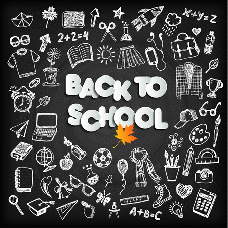 Back to school background set on black board Vector illustration.