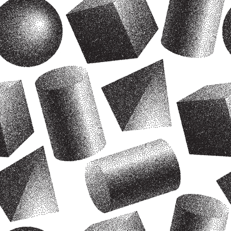 Geomertic abstract seamless pattern with black and white colors.