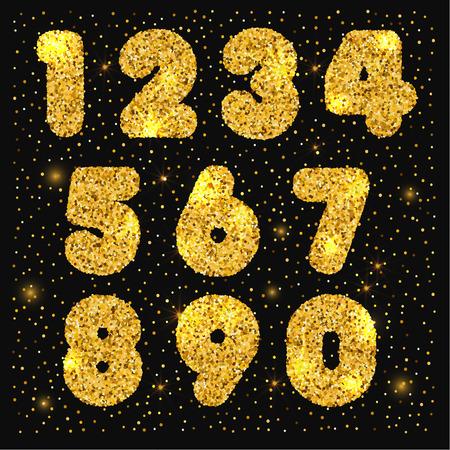Gold Set von Zahlen mit metallischen Textur Standard-Bild - 96388336