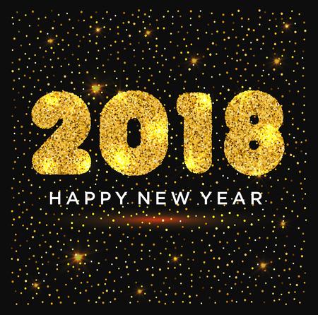 Frohes Neues Jahr Illustration mit gold glitzert Standard-Bild - 96402295