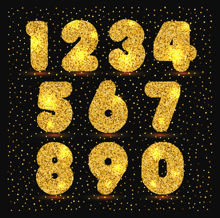 Gold set of numbers with metallic texture. Illustration