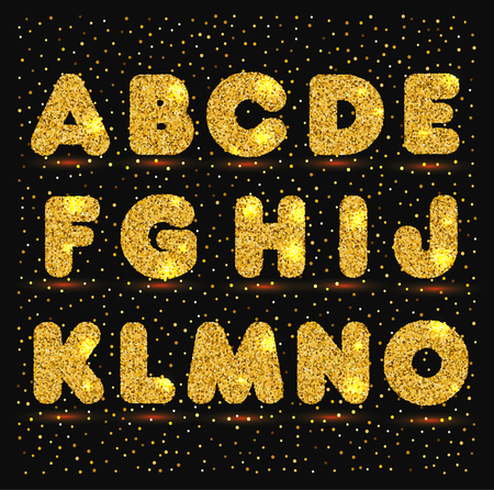 Gold alphabet in metallic style Ilustracja