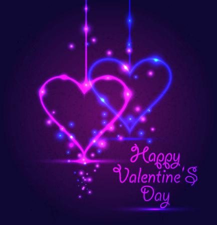 Happy Valentine Day card in neon style on dark violet background.