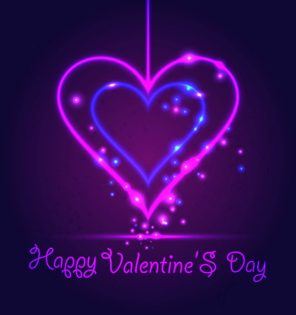 Happy Valentine Day card in neon style on dark violet background.