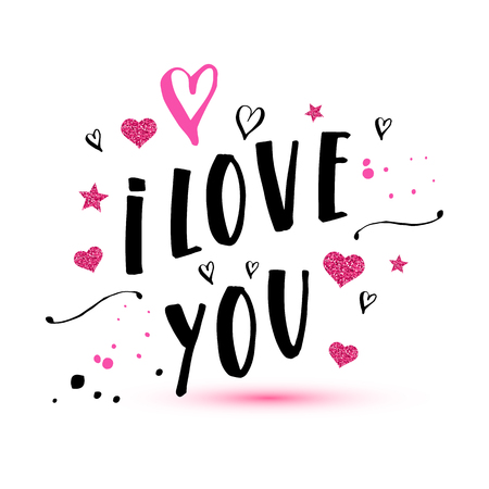 I love you text of valentines day background illustration. Reklamní fotografie - 96524130