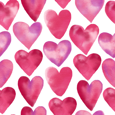 Watercolor seamless pattern of watercolor hand drawn heart. Vector Design Valentine day illustration  イラスト・ベクター素材