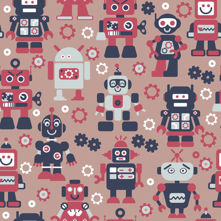 Robotrs color seamless pattern on beige background.