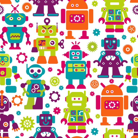 Robotrs color seamless pattern on white background. Illustration