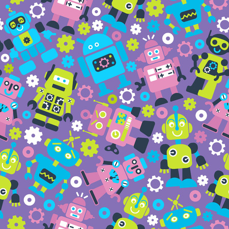 Robotrs color seamless pattern on white background. Ilustracja