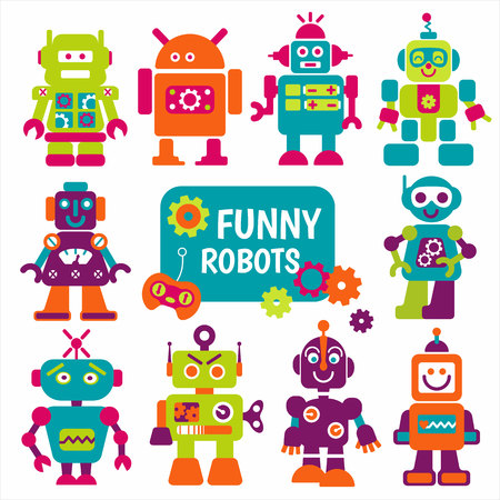 Funny robots set. 10 cheerful robots for design. Illustration