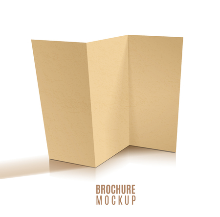 Blank tri-fold brochure design isolated. Paper craft.