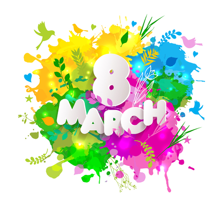 8 March vector card with colorful blots for Womans Day celebration.