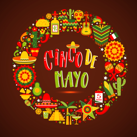 Cinco de mayo. Hand drawn lettering phrase. Design element for poster, postcard. Vector illustration