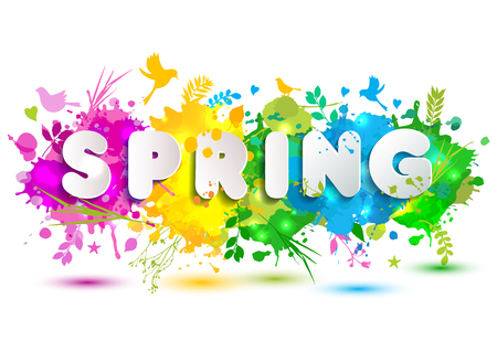 Spring text on colorful blots. Hand drawn elements with seasonal symbol. Illustration