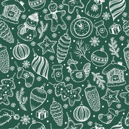 Naadloos patroon van Kerstmis op zwarte achtergrond. Hand getrokken elementen. Stock Illustratie