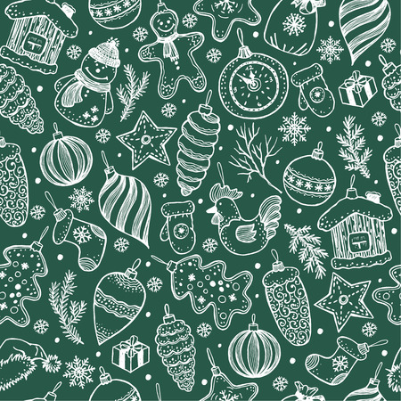 Seamless pattern of christmas on black background. Hand drawn elements. Vettoriali