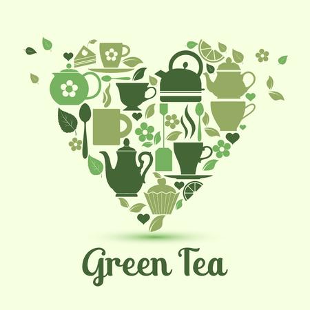 ベクターイラストは緑茶が大好きです。