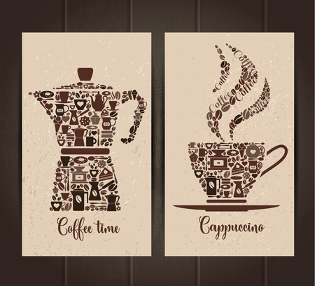 Coffee cup and pot icon set of small icons. Banners layout. Illustration