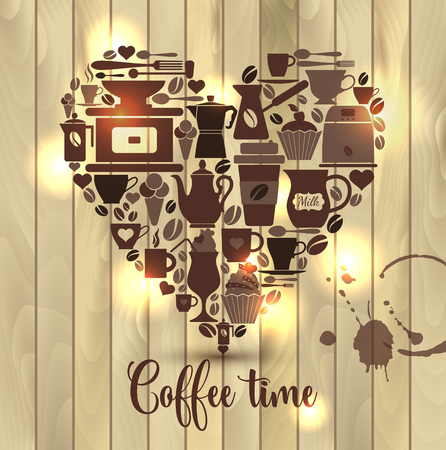 Vector illustration on wooden of heart with coffee icons. Çizim