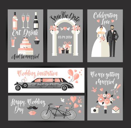 Set of cards for wedding. design decoration in flat for celebration Illusztráció