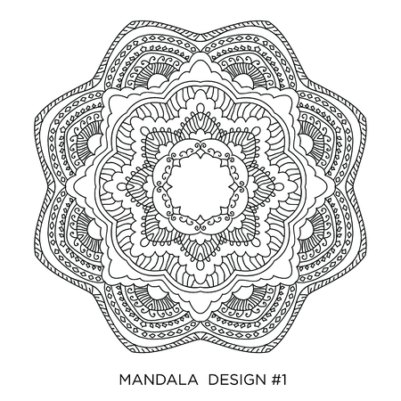 Mandala. Round floral ornament isolated on white background. Decorative design element. Black and white outline vector Illusztráció