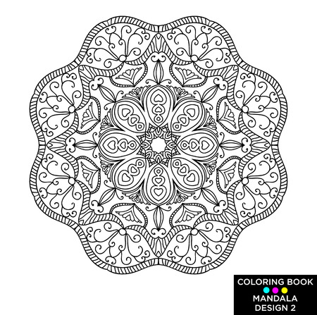 Mandala. Round floral ornament isolated on white background. Decorative design element. Black and white outline vector Stok Fotoğraf - 96981464
