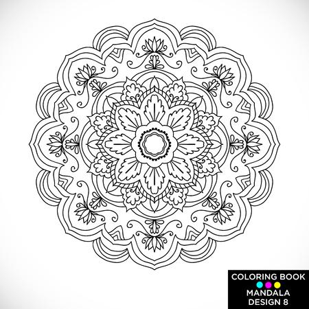 Mandala. Ornement floral rond isolé sur fond blanc. Élément de design décoratif. Illustration vectorielle de contour noir et blanc pour livre de coloriage, impression sur T-shirt et autres articles.