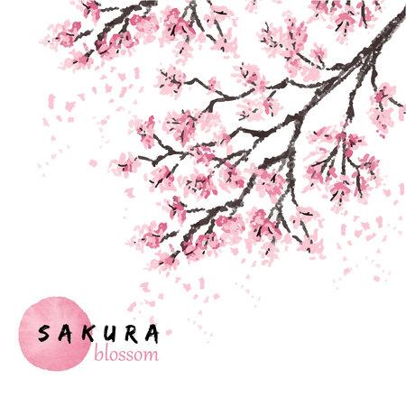 Sakura japonia wiśnia oddział z kwitnących kwiatów ilustracji wektorowych. Ręcznie rysowane styl. Ilustracje wektorowe