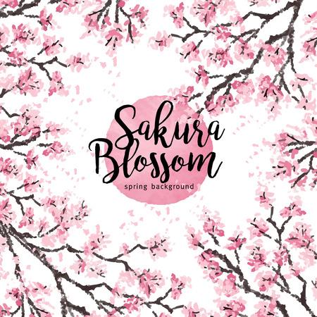 Sakura Japan-kersentak met bloeiende bloemen vectorillustratie. Hand getrokken stijl.