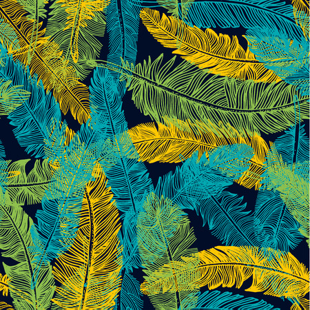 Hand drawn seamless pattern of feathers. Color of brazil flag. Ilustração