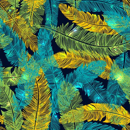Hand drawn seamless pattern of feathers. Color of brazil flag. Ilustração