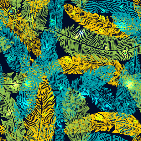 Hand drawn seamless pattern of feathers. Color of brazil flag. Illustration