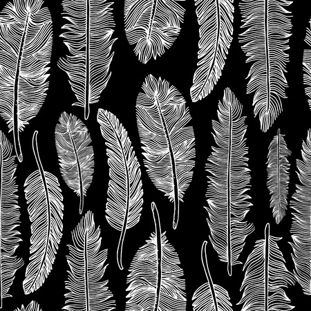 Seamless pattern of feathers .Vector illustration of tribal style. Çizim
